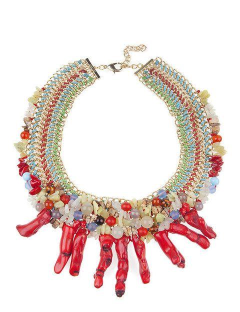 <p>Collar con abalorios y coral. </p>