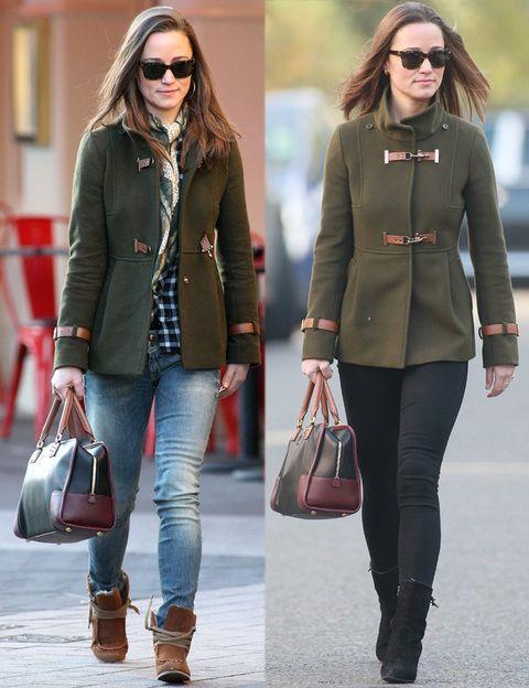 <p>Es su firma favorita a lo hora de lucir abrigos. Este en concreto lo luce con diferentes outfits y estilos, unas veces más casual con vaqueros, y otras más elegante en un total black look.</p>