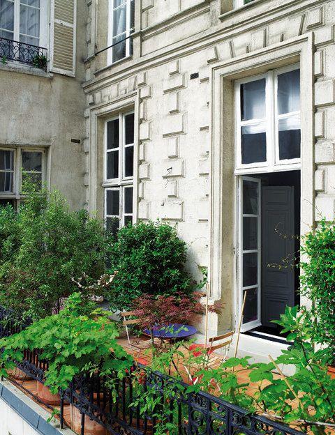 <p>Una parte de la vivienda se comunica con el exterior a través de una frondosa terraza que se abre al centro de París.</p>