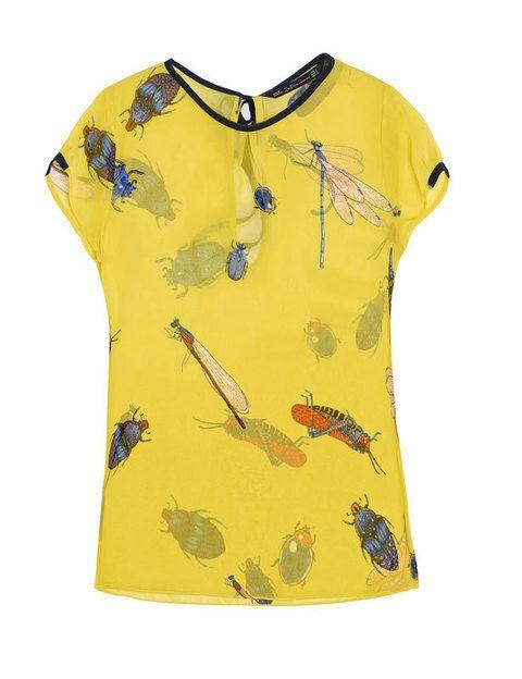 <p>A priori aunque te den miedo los insectos, querrás llevar un estampado repleto de ellos. Como esta blusa de<strong> Zara (29'95€).</strong></p>