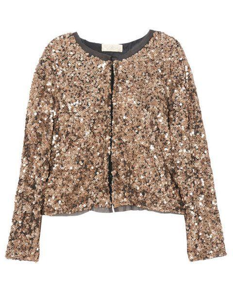 <p>Espetacular chaqueta de pailletes en tono bronce de<strong> BDBA</strong> para completar tu look.</p>