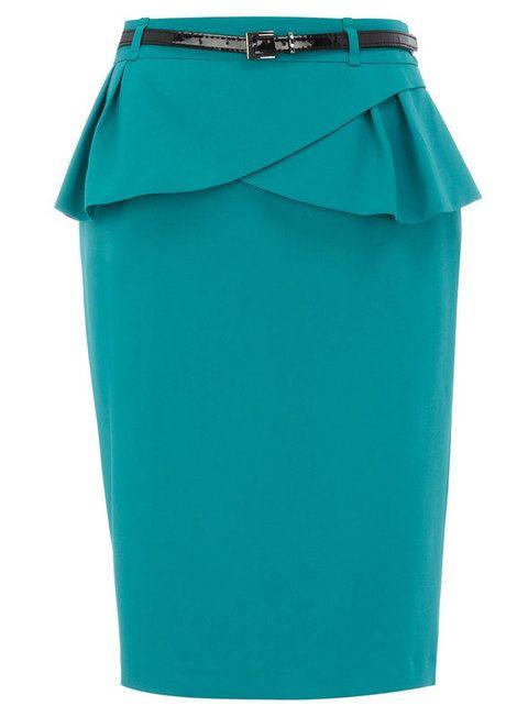 <p>Falda peplum color esmeralda con cinturón incorporado.</p>