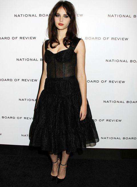 <p><strong>Felicity Jones</strong> apostó por un look más gótico y sexy en su vestido negro de falda midi con vuelo y cuerpo de body. Su media melena suelta y ojos marcados con khol completaban su estilismo de fiesta.</p>