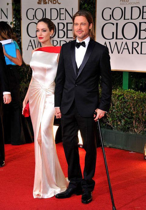 <p><strong>Brad Pitt</strong>, aún con bastón tras un leve accidente de esquí, acudió a la gala con su inseparable Angelina Jolie.</p>