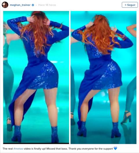 """<p>""""Me han 'photoshopeado' entera"""": con estas palabras, la cantante <strong>Meghan Trainor</strong> <a href=""""https://www.youtube.com/watch?v=EfwK5tpzuac"""" target=""""_blank"""">explicaba a sus fans</a> por qué ha eliminado de todas partes su nuevo videoclip, """"Me Too"""", a las pocas horas de ser publicado. """"Mi cintura no es tan estrecha. Aquella noche mi cintura era la bomba, no entiendo por qué no les ha gustado. Pero yo no aprobé ese vídeo y sin embargo ha salido a la luz, de modo que estoy avergonzada"""" asegura Trainor. Para demostrar su afirmación, la joven cantante ha colgado esta imagen en su cuenta de Instagram, en la que muestra el vídeo original y el que ella no aprobó, y puede apreciarse cómo éste está retocado. Al final, Trainor ha conseguido que la <a href=""""https://www.youtube.com/watch?v=qDRORgoZxZU"""" target=""""_blank"""">versión final del vídeo</a> sea una sin retocar.</p>"""