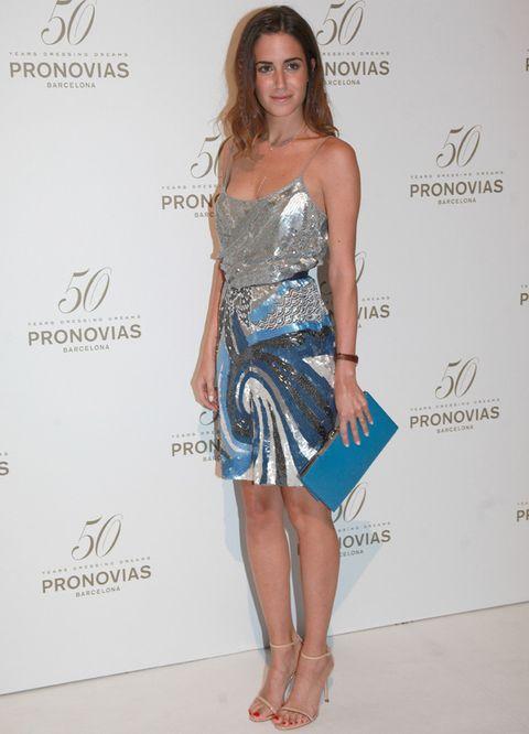 <p><strong>Gala González</strong> siempre consigue captar nuestra atención, guapísima a su llegada al desfile con un diseño plata y azul glitter que completó con accesorios en las mismas tonalidades.</p>