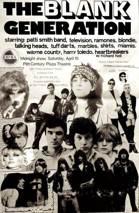 """<p>Es la película punk de la generación punk. Sin orden ni concierto, como era de esperar, este filme de Amos Poe e Ivan Jral rodado en 1976 a partir de grabaciones caseras en 16 mm. <a href=""""https://www.youtube.com/watch?v=AGHNSzZHewM"""" target=""""_blank"""">""""The blank generation""""</a> es un testimonio único del nacimiento de un estilo musical, pues documenta las primeras actuaciones de Talking Heads, Ramones, Patti Smith, Blondie, Television, New York Dolls, Heartbreakers en garitos míticos como el CBGB, el Maxs Kansas City, el Bottom Line o la casa de la vocalista de Blondie, Debbie Harry. De un estilo tremendamente amateur, pero único.</p>"""