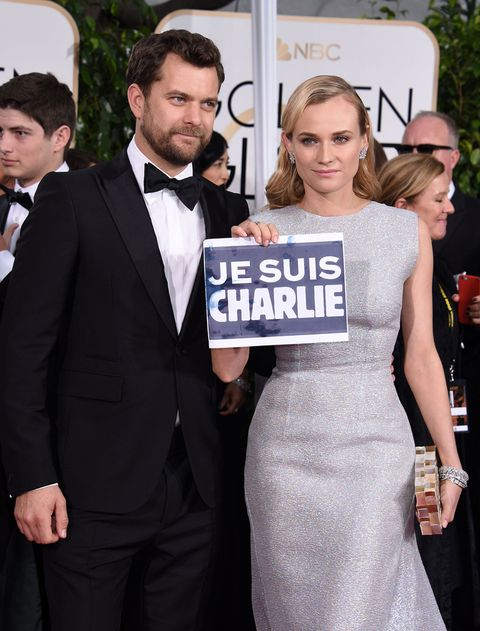 <p>La pareja <strong>Diane Kruger</strong> y <strong>Joshua Jackson</strong>&nbsp&#x3B;mantuvieron, a su paso por el 'photocall', el cartel '<strong>Je suis Charlie</strong>', una muestra de solidaridad con los hechos ocurridos en París.</p>
