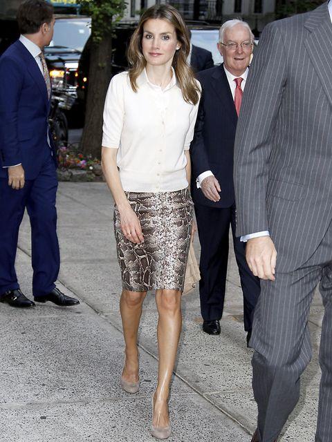 <p>Para su encuentro con los líderes hispanos en el Instituto Cervantes de Nueva York la Princesa de Asturias eligió un look con falda de lápiz de print de pitón con una camisa blanca.</p>