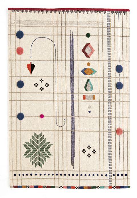 <p>Son los protagonistas de la alfombra <i>Rabari,</i> de Doshi Levien para Nanimarquina, desde 3.017 €. </p>