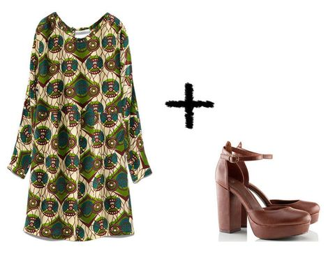 <p>Más fácil imposible, vestido de seda de <strong>Marni (99€) </strong>y plataformas de estilo 'Mary Jane' de <strong>H&amp;M</strong> <strong>(29'95€).</strong></p>