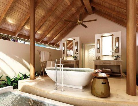 """<p> Durante tu estancia en<a href=""""http://www.dusit.com"""" target=""""_blank""""> Dusit Thani Maldives</a> olvidarás los skyline abruptos, pues estarás rodeado solo de agua turquesa. El resort tiene 100 alojamientos destinados a ser verdaderos santuarios para la relajación. Pasa la noche en la Beach Villa (593 euros, con desayunos incluidos). Disfruta de sus 141 m2, con 2 habitaciones y espaciosos baños, wifi y máquina Nespresso, entre otras amenities. Podrás acceder al estudio fitness, con entrenador personal e instructor de yoga, al área y club infantil y a la consulta médica.<br />Dusit Thani Maldives. Mudhdhoo Island. Baa Atoll (Maldivas). Tél. 00 96 06 60 88 88.</p>"""