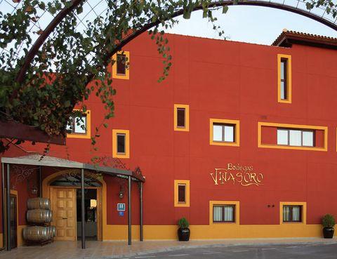"""<p> Elige entre las estancias <i>Syrah</i>, <i>Airén</i>, <i>Macabeo</i> o <i>Merlot</i>, nombres de las varietales que albergan los viñedos manchegos en los que se inscribe el hotel <a href=""""http://www.bodegasvinasoro.com"""" target=""""_blank"""">Bodegas Viñasoro</a>. Aquí conocerás el ciclo de la vid, las técnicas de cultivo y puedes comprar sus caldos, así como productos de vinoterapia. El hotel consta de 18 cuartos (desde 45 euros, con desayuno), algunos con chimenea y bañera de hidromasaje, sauna, restaurante y <i>jacuzzi</i>. Aprovecha la oferta de fin de semana que incluye alojamiento en habitación superior para una pareja, con media pensión y acceso a la sala de relajación, por 121 euros.<br /><a href=""""http://www.bodegasvinasoro.com"""" target=""""_blank"""">Bodegas Viñasoro</a>. Ctra. Alcázar-Manzanares, Km. 7,2. Alcázar de San Juan (Ciudad Real). Telf: 926 54 10 74</p>"""