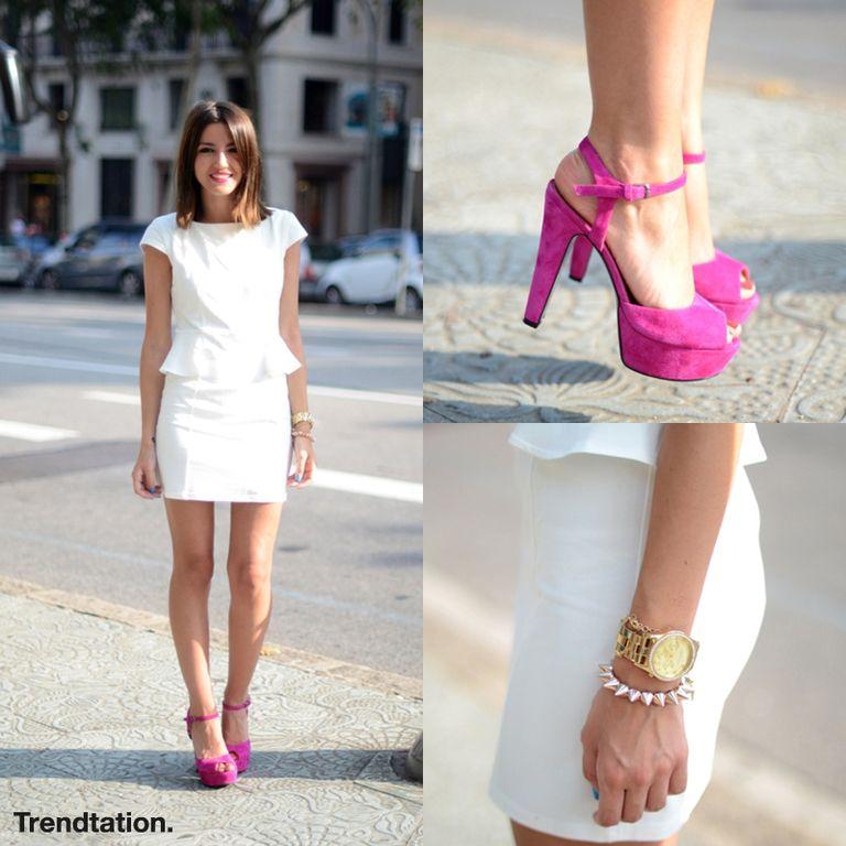 Vestido fucsia y blanco
