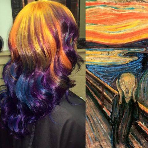 <p>El portafolio de esta colorista incluye trabajos tan sorprendentes como este: &quot;El Grito&quot; de Edvard Munch transformado en peinado. La artista, original de Kansas (Estados Unidos), utiliza diferentes tonos de tinte para conseguir sus obras, en las que suele invertir entre tres y seis horas.</p>