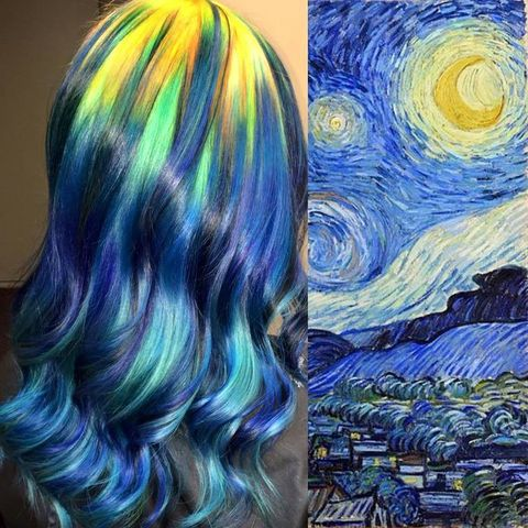 <p>&quot;La Noche Estrellada&quot;, de Van Gogh, fue la primera obra de arte que Ursula versionó con tinte. </p>