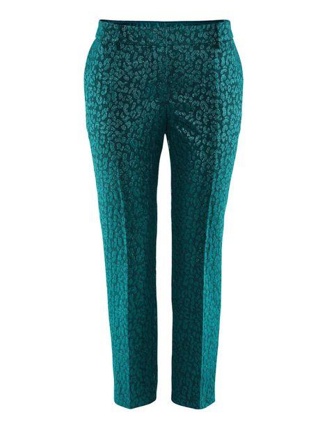 <p>Pantalones verdes brocados de corte capri de<strong>&nbsp;H&amp;M.</strong></p>