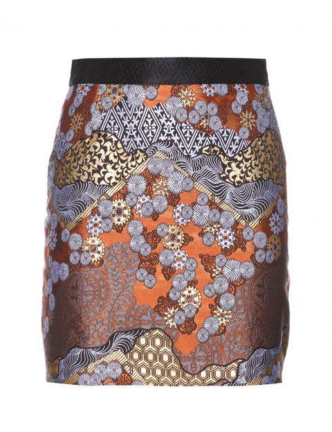 <p>Falda de estampado brocado oriental de&nbsp;<strong>Proenza Schouler para My Theresa.</strong></p>