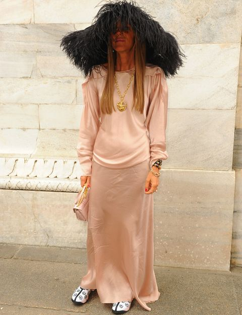 <p>Solo<strong> Anna Dello Russo</strong> se atrevería a asistir al desfile de <strong>Roberto Cavalli</strong> con semejante pamela de plumas negras, combinada con un vestido largo rosa palo, bolso del mismo color y zapatillas.&nbsp&#x3B;</p>