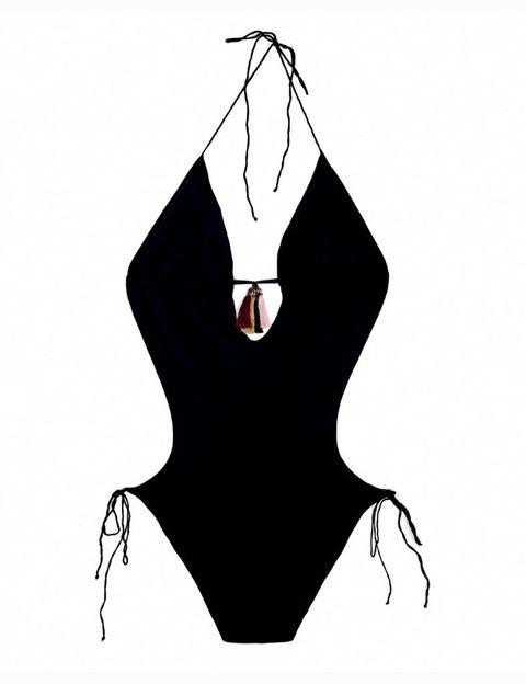 <p>Trikini con borlas de colores en el escote.</p>