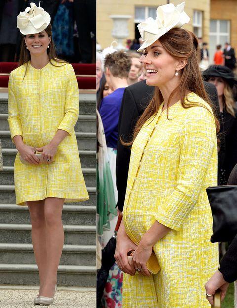 <p>En la recta final de su embarazo, Kate vuelve a apostar por el color con este abrigo en amarillo y blanco de <strong>Emilia Wickstead</strong>con tocado de<strong> Jane Corbett</strong>, clutch y pumps de <strong>L.K.Bennett</strong>.</p>