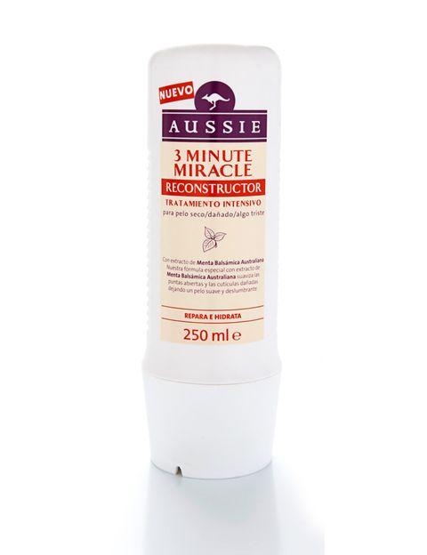 <p>'3 Minute Miracle Reconstructor' (6,99 €), de <strong>Aussie</strong>. 'Cuando tengo el pelo muy seco, lo repara por completo en tan sólo 3 minutos. Una gran ayuda para las que tenemos el pelo encrespado', Marta Alameda, redactora de Star Style. </p>