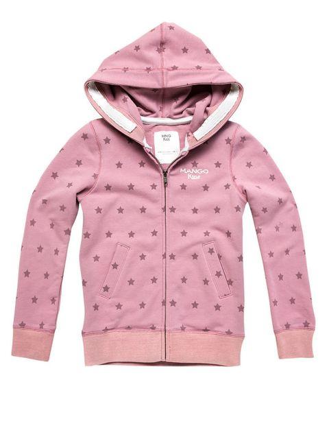 <p>Sudadera con capucha y cremallera en tono rosa palo, con estampado de estrellas.</p>