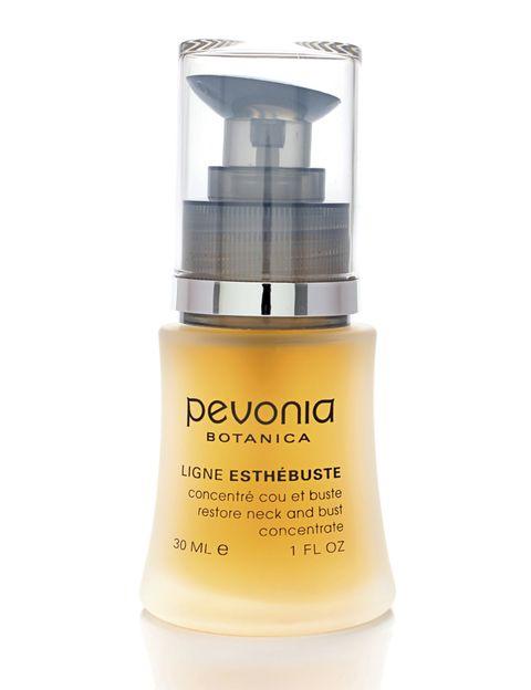 <p>'Ligne Esthébuste' (72 €), de <strong>Pevonia</strong>, reafirma la piel del escote gracias al extracto de kigelia africana (un tipo de árbol). Además, tiene propiedades antioxidantes. ¿Lo ideal? Aplicar diez gotas de producto y hacer un pequeño masaje en la zona a tratar.</p>