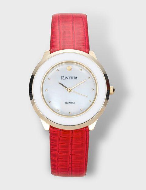 "<p>Reloj de correa roja y esfera blanca y dorada (35 €), de <a href=""http://www.elcorteingles.es/tienda/moda/browse/productDetailCulturalClothes.jsp?productId=A10534654&categoryId=997.1421670584&elementoId=997.1421663050&isProduct=true&trail=&pcProduct=&trailSize=&navAction=jump&navCount=0&brandId=&utm_source=elle&utm_medium=espaciosdigitales&utm_term=noticia&utm_content=2015-02-04_clasesdeestilo&utm_campaign=acuerdo_sanvalentininfalibles"" target=""_blank""><strong>Pontina.</strong></a></p>"