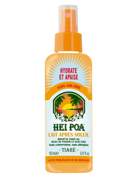<p>¿After-sun o hidratante? aunque puedan parecer lo mismo, no lo son. Los productos específicos para después del sol contienen activos calmantes y refrescantes. 'El objetivo del after-sun es recuperar la piel tras la exposición solar, mientras que la hidratante tiene efectos a largo plazo, devuelve la flexibilidad e hidratación a la piel, pero no actúa de forma inmediata contra las agresiones del sol', cuentan desde Vichy.'Lait Après Soleil' (12,90 €), de <strong>Hei Poa</strong>. Con Monoï de Tahití.</p>