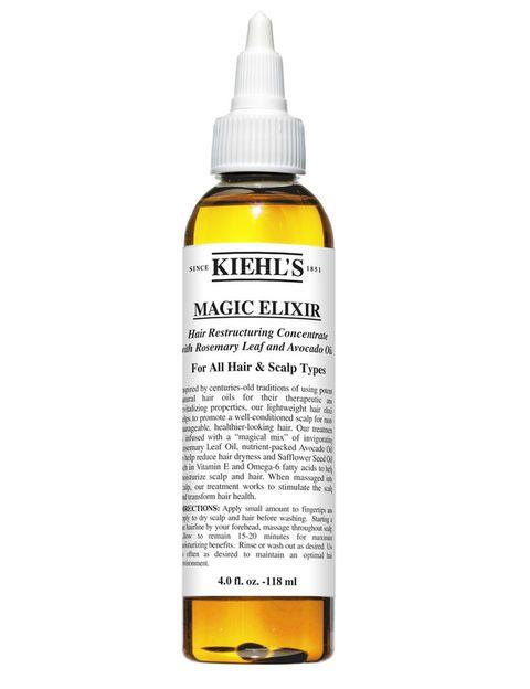 <p>'Magic Elixir Hair Restructuring Concentrate' (21,50 €), de <strong>Kiehl's</strong>. A base de hojas de romero, aceite de aguacate, aceite de semillas de cártamo y aloe, este aceite hidrata y sella la cutícula para un resultado brillante y sano.</p>