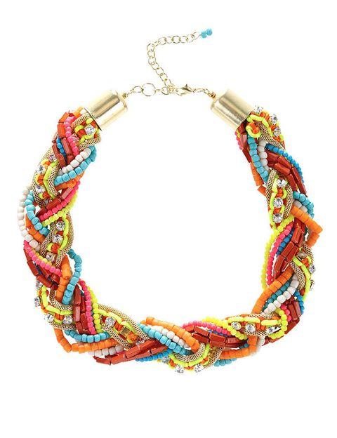 <p>Collar con abalorios en tonos flúor, de <strong>Blanco.</strong></p>
