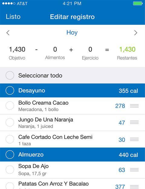 """<p>&nbsp;</p><p><strong>Esta aplicación gratuita es perfecta para ayudarte a perder peso, mantenerlo</strong> y mejorar tu forma física. Esta app, que puedes compartir con tus amigos, registra las calorías que ingieres cada día y lo que gastas (interactúa con aplicaciones de fitness o pulseras como Fitbit). <a href=""""https://www.myfitnesspal.com/"""" target=""""_blank"""">MyFinessPal</a> cuenta con <strong>una enorme base de datos de diferentes países (con mas de 5.000 comidas)</strong> capaz de identificar lo que comes, su composición de nutrientes y calorías, ayudándote a elegir platos más sanos y saciantes. Además, tiene registrados los códigos de barras de la mayoría de los productos envasados del súper, sólo tienes que escanearlos con la app y te mostrará la etiqueta nutricional <strong>Psst. Esta app te marcará unos límites para bajar o subir de peso</strong> e incluso puede bloquear la cuenta de un usuario si sospecha que puede padecer desórdenes alimentarios.</p><p>&nbsp;</p>"""