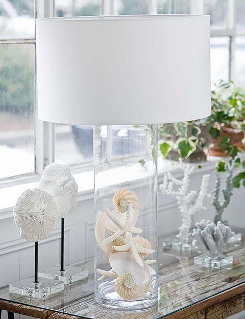 """<p>Hazte con una botella bonita de vidrio y rellénala con conchas o con arena. Después utilízala como pie de lámpara y verás que el resultado es sorprendente, ¿o no? Lo hemos encontrado en <a href=""""http://www.everythingcoastal.com/2012/02/seashell-natural-decorating.html"""" target=""""_blank"""">www.everythingcoastal.com.</a></p>"""