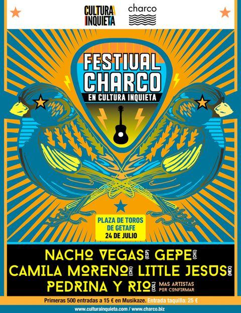 """<p>Este viernes 24, dentro del marco de la sexta edición de Cultura Inquieta, tendrá lugar el <strong>Festival Charco</strong> en la Plaza de Toros de Getafe. Se trata de un concierto de 10 horas con los mejores nombres de la nueva ola de música latinoamericana: El Mató a un Policía Motorizado, Gepe, Little Jesús… Junto a ellos, habrá dos bandas que juegan en casa: los míticos <strong>Planetas</strong> y <strong>Nacho Vegas,</strong> que ejercerán de anfitriones de los nuevos sonidos que llegan desde el otro lado del charco. Las entradas cuestan 28 € en taquilla y 25 € si las compras anticipadamente en <a href=""""https://beta.ticketea.com/entradas-nacho-vegas-festival-cultura-inquieta/"""" target=""""_blank"""">ticketea.com,</a> donde además tienes los horarios de todos los artistas. Los conciertos empiezan las 18 h.</p>"""