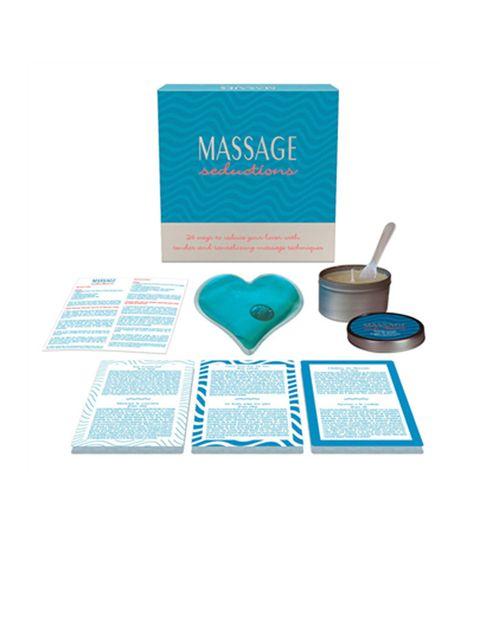 """<p>Con este pack tendrás <strong>en tu casa el placer de un salón de masajes eróticos</strong>. Contiene una vela de masaje , una cuchara, 24 cartas de masajes seductores, 1 corazón masajeador de gel con calor instantáneo, consejos útiles para dar masajes y las instrucciones del kit. <strong>Precio.</strong> 24.95 € en Egolalá <a href=""""http://www.egolala.es"""" target=""""_blank"""">Eroteca</a>. </p><p></p>"""