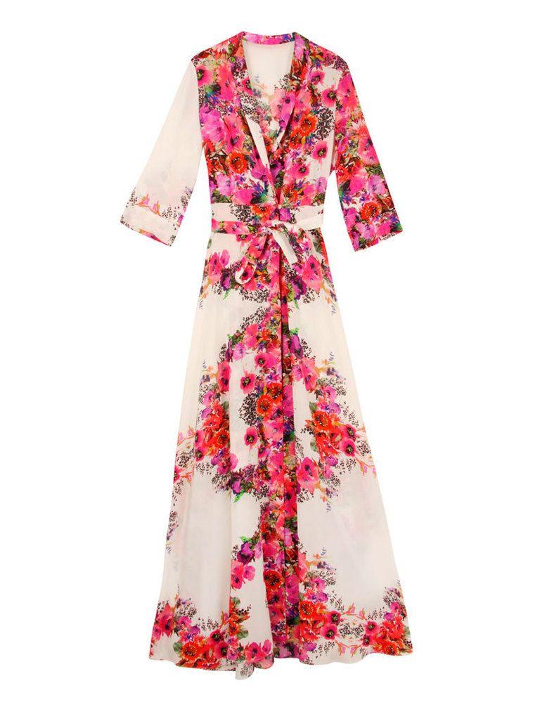 Vestido camisero largo flores boda