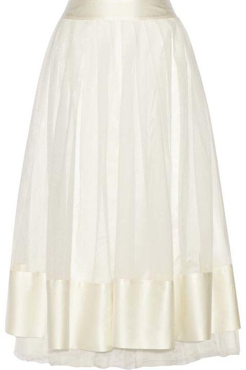 <p>Falda midi de lino con cinturilla y remates de raso blanco, de&nbsp;<strong>Madame Aime.</strong></p>