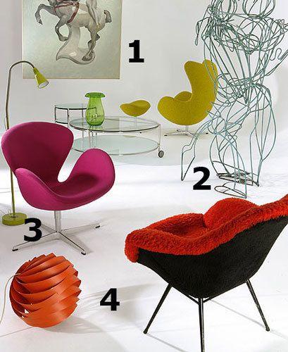 <p>1. <strong>Óleo realizado sobre madera</strong>, titulado Amazona, por el pintor y ceramista Manuel Sánchez Algora, 2.000 €. <strong>Mesa de centro</strong> modelo Strind, 119 €; <strong>jarrón</strong> modelo Ikea Stockholm, 29,95 €, ambos en Ikea. <strong>Mesita</strong> auxiliar modelo GS425, diseñada por Gebroedes Van Der Stroom para Dutch Originals, 469,95 €, en Simsum. 2. <strong>Butaca</strong> con reposapiés Egg, en tejido Divina Melange, diseñada por Arne Jacobsen y fabricado por Fritz Hansen, 5.442,50 €, en Baus Design. Original <strong> escultura francesa</strong> Dancers realizada en alambre grueso de hierro por Poizet, de 100x180 cm, 7.200 €, en L.A. Studio. 3. <strong> Lámpara de pie</strong> modelo Kwart, 17,95 € , en Ikea. <strong>Butaca</strong> modelo Swan diseñada por Arne Jacobsen fabricada por Fritz Hansen, 2.333,92 €, en Baus Design. <strong>Lámpara de techo</strong> modelo Louis Weisdorf, 700 €, en Tiempos Modernos. 4. <strong>Butaca holandesa</strong> años 50, la pareja 1.000 €, en El 8.</p>