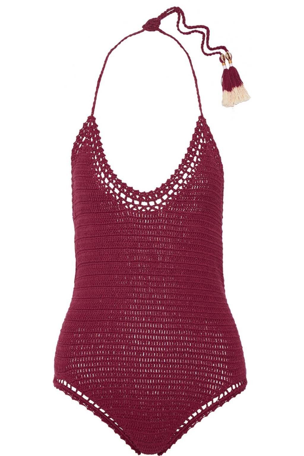 <p>Bañador de crochet en color vino, de <strong>She made me</strong> (186 €).</p>