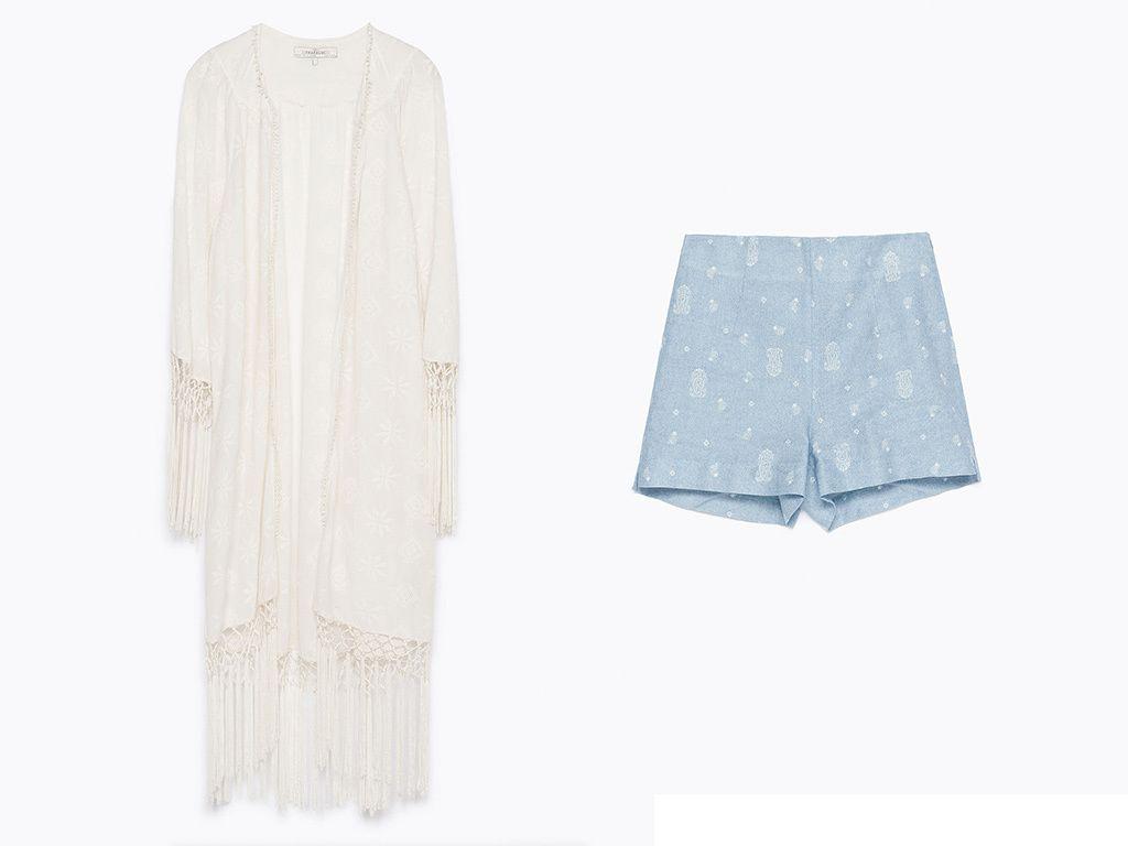 <p>Logra un look bohemio relajado con tonos neutros y flecos. Con bermudas con micro estampados y un kimono que extiende su largura gracias a los flecos, en blanco.</p><p>Kimono (50 €) y bermudas (23 €), todo de<strong>Zara.</strong></p><p></p>