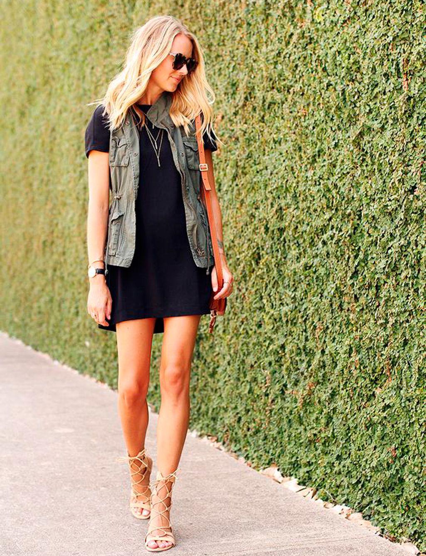 Outfit vestido negro corto pegado