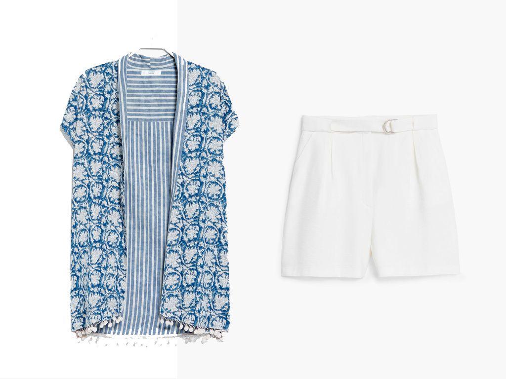 <p>¿Comida familiar y no sabes qué ponerte? Confía la tarea de la elegancia a este conjunto de bermuda en blanco y kimono de manga corta estampado. Puedes añadir un tank top neutro por debajo y combinarlo con unos<i>ugly shoes.</i></p><p>Kimono (20 €) y bermudas (30 €), todo de<strong>Mango.</strong></p>