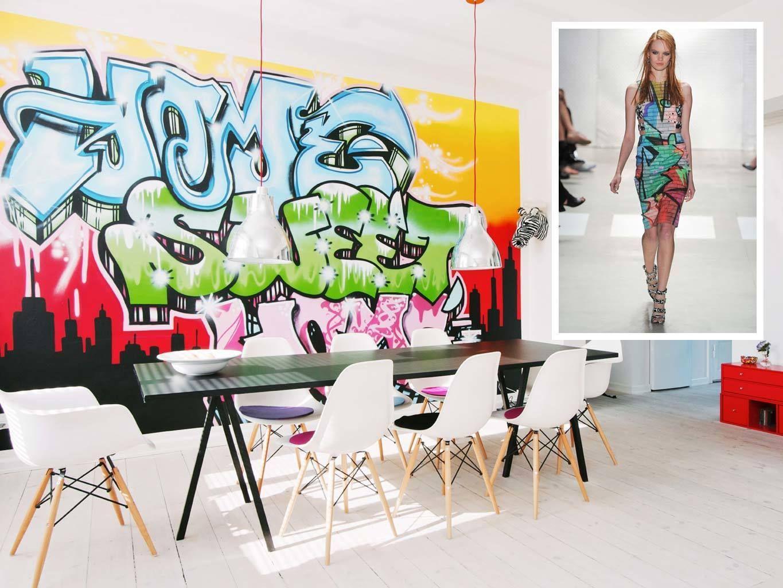 <p>El grafiti ha triunfado en las pasarelas, véase este vestido ajustado de Nicole Miller, y también lo hace en este vanguardista apartamento de Copenhague, donde protagoniza la pared del comedor. Desde 111 €/noche.</p>