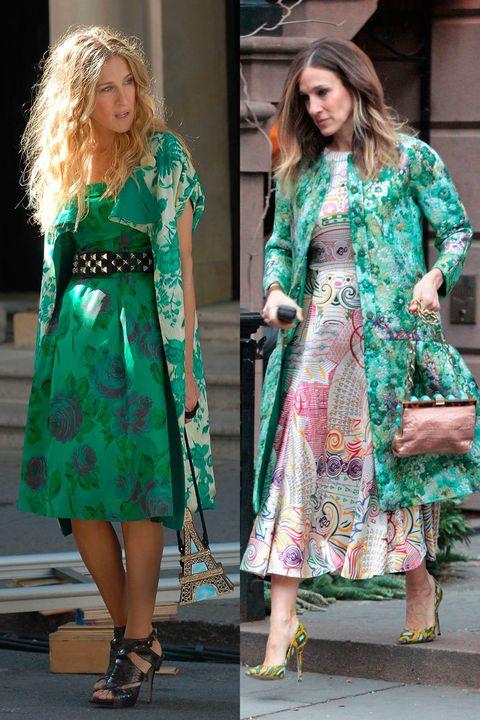 <p>Un llamativo print verde domina estos outfits con vestido lady y abrigo.&nbsp;</p>