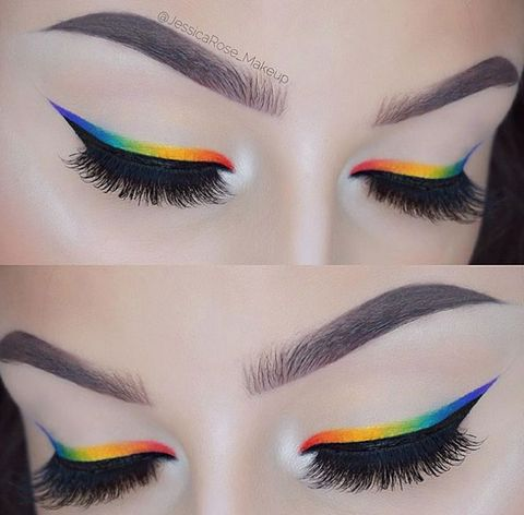 Green, Brown, Colorfulness, Eyelash, Forehead, Eyebrow, Eye shadow, Orange, Violet, Style,