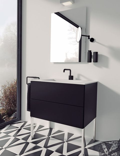 Interior design, Room, Floor, Wall, Plumbing fixture, Bathroom sink, Fixture, Grey, Black-and-white, Monochrome photography,