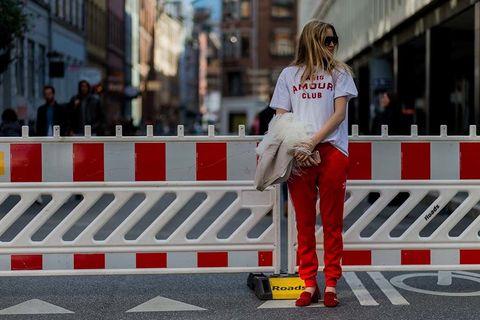 Red, Bag, Street fashion, Carmine, Blond, Brown hair, Walking shoe,