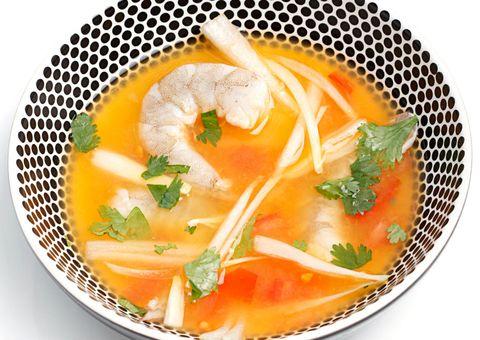 Food, Ingredient, Produce, Soup, Orange, Dish, Recipe, Garnish, Cuisine, Bouillon,