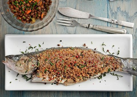 Food, Ingredient, Seafood, Dishware, Recipe, Fish, Kitchen utensil, Cutlery, Dish, Fish,